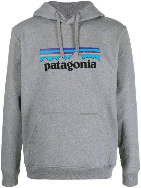 Prążkowany pulower z printem z kapturem Patagonia