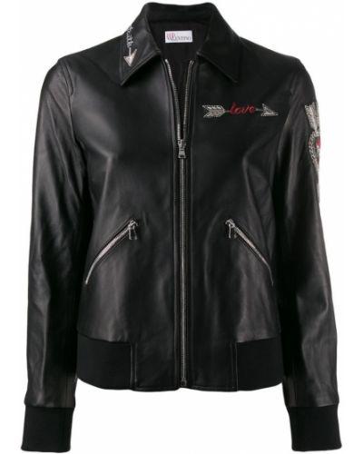 Кожаная куртка черная длинная Red Valentino