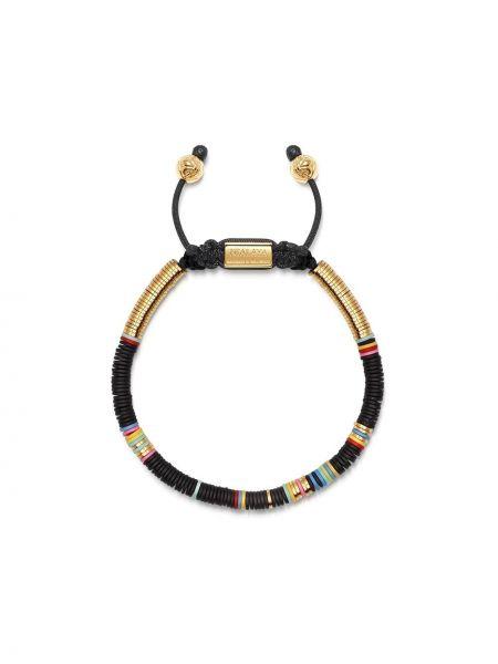 Черный золотой браслет позолоченный с бисером Nialaya Jewelry