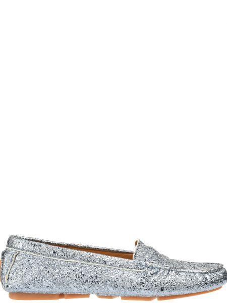 Мокасины кожаные серебряного цвета Gianni Famoso