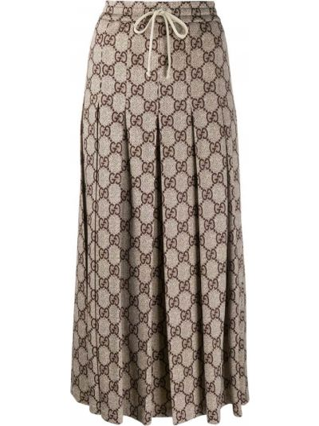 Spódnica midi plisowana na gumce Gucci
