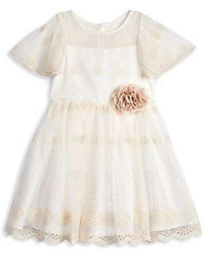 Sukienka mini rozkloszowana krótki rękaw z siateczką Laura Ashley London