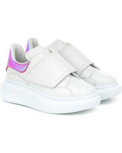 Biały sneakersy z prawdziwej skóry Alexander Mcqueen Kids
