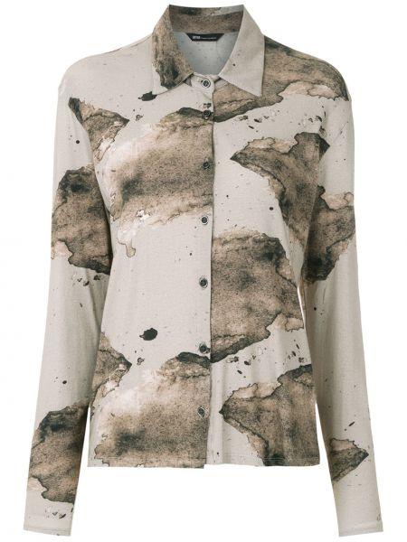 Хлопковая классическая рубашка с воротником на пуговицах с длинными рукавами Uma   Raquel Davidowicz