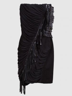 Шелковое черное платье мини Blumarine