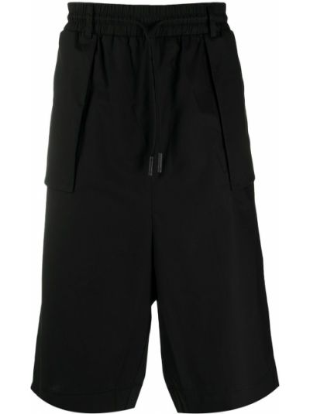Bawełna bawełna czarny szorty z paskiem Marcelo Burlon County Of Milan