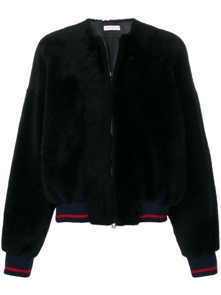Синяя кожаная куртка на молнии Inès & Maréchal