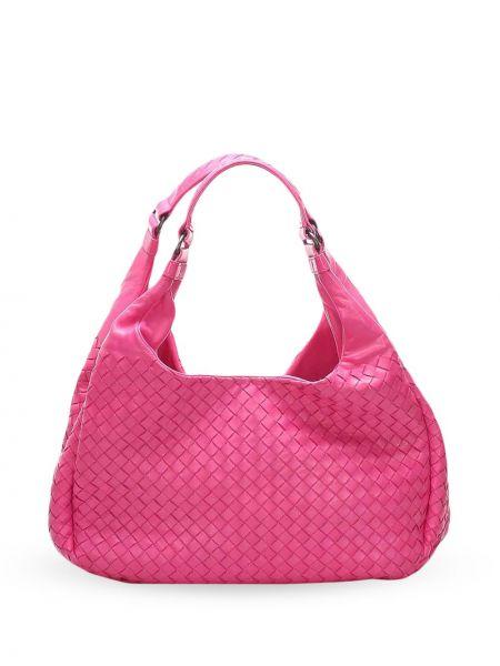 Кожаная розовая сумка на плечо на молнии с карманами Bottega Veneta Pre-owned