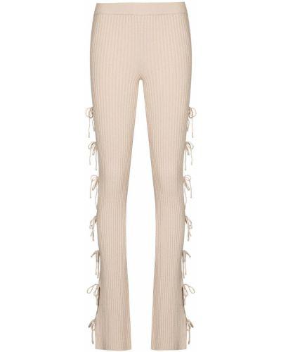 Prążkowane beżowe spodnie wełniane Danielle Guizio