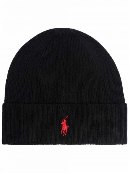 Черная шерстяная шапка Polo Ralph Lauren