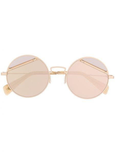 Złote okulary z printem Yohji Yamamoto