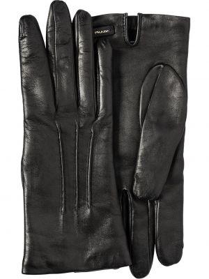 Skórzany rękawiczki włoski prążkowany Prada