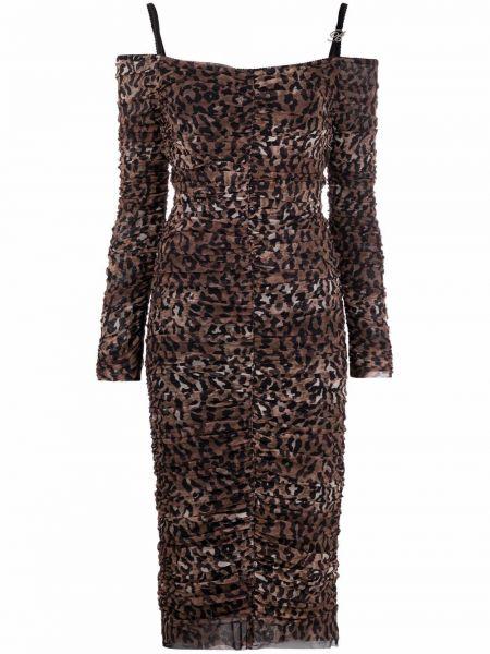 Коричневое платье с открытыми плечами Blumarine
