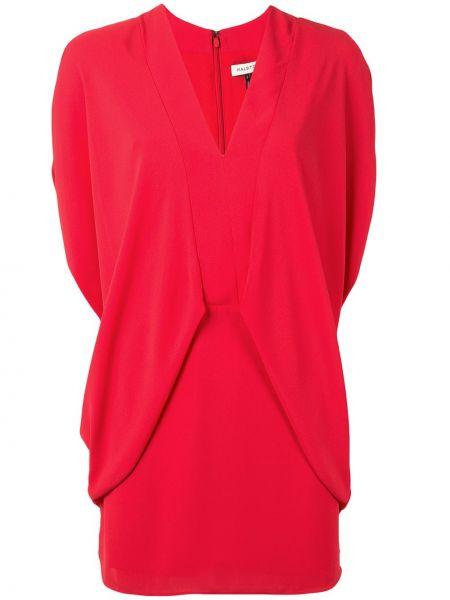 Красное платье мини с V-образным вырезом на молнии с драпировкой Halston Heritage