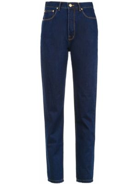 Хлопковые синие пляжные джинсы с высокой посадкой на пуговицах Amapô