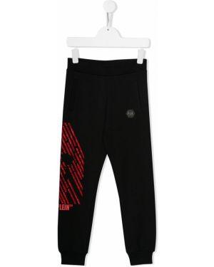 Sportowe spodnie z wysokim stanem z kieszeniami Philipp Plein Junior