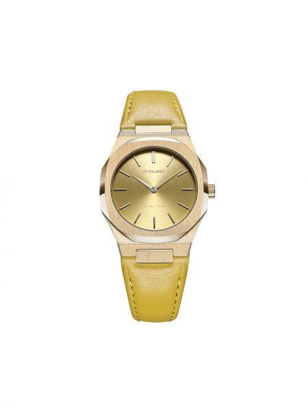 Skórzany żółty zegarek na skórzanym pasku okrągły z szafirem D1 Milano