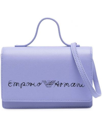 Fioletowa torba na ramię skórzana z printem Emporio Armani Kids