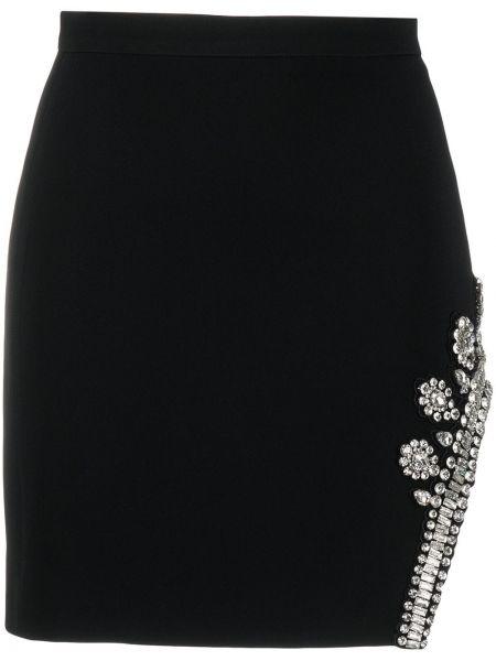 Z wysokim stanem asymetryczny czarny spódnica mini z wiskozy David Koma