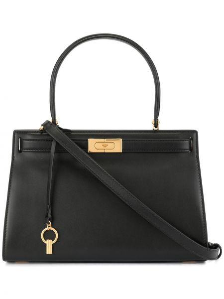 Черная кожаная сумка круглая с подвесками металлическая Tory Burch