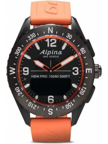 Черные часы круглые Alpina