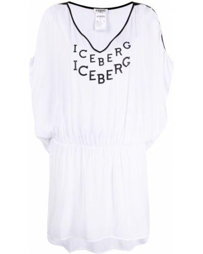 Пляжное белое платье с оборками Iceberg