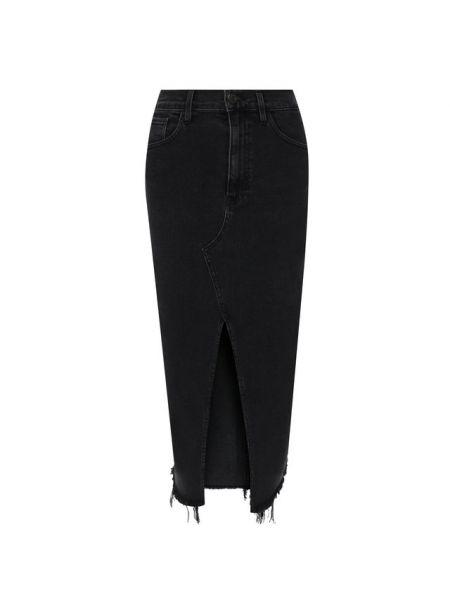 Джинсовая юбка с бахромой черная 3x1