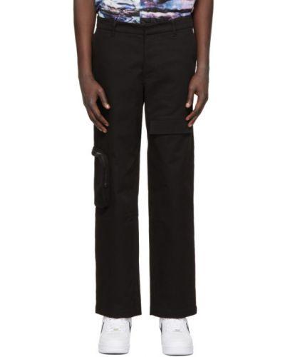 Czarne spodnie bawełniane z paskiem Rochambeau
