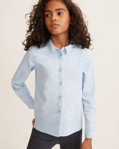 Блуза однотонная с манжетами Mango Kids