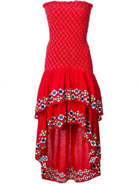 Асимметричное красное платье со вставками без рукавов Alexis