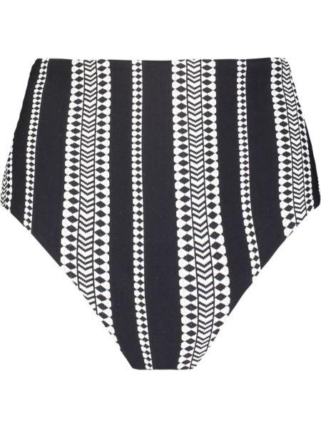 Czarne majtki z wysokim stanem z printem Lemlem