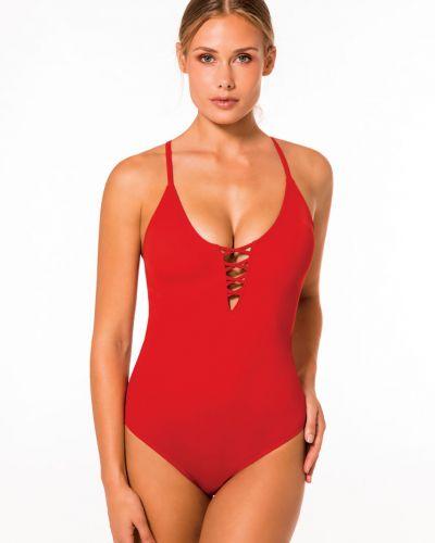 Слитный купальник красный из плотной ткани Dorina