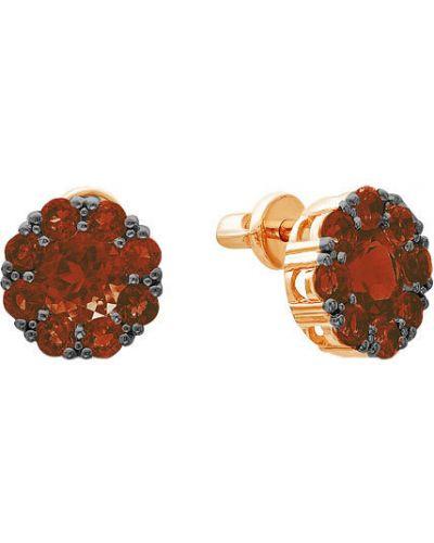 Золотые серьги серьги-гвоздики с гранатом ювелирные традиции
