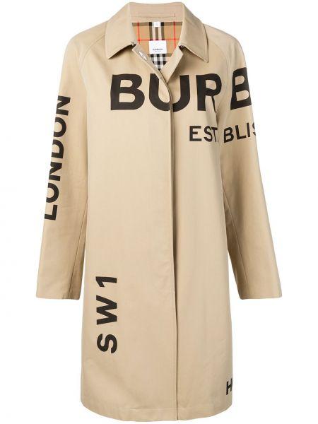 Бежевое пальто классическое с капюшоном с воротником Burberry