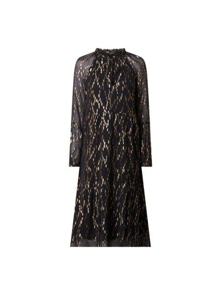 Sukienka midi z falbanami - czarna Ilse Jacobsen