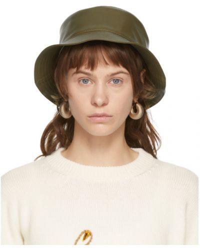 Кожаная зеленая шапка с подкладкой Loewe