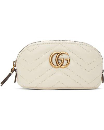 Brązowy torebka na łańcuszku prążkowany z łatami z prawdziwej skóry Gucci