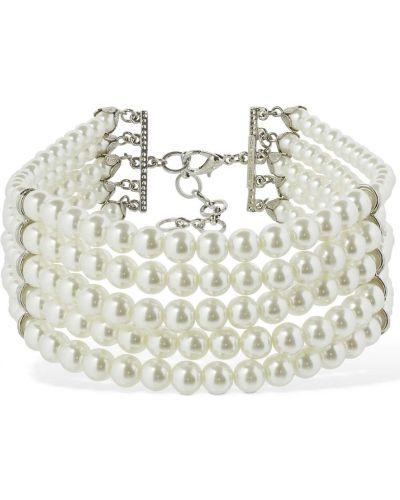 Biały naszyjnik srebrny Alessandra Rich
