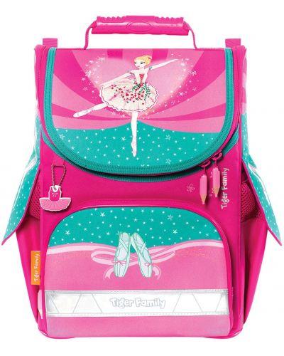 Розовый школьный ранец из плотной ткани Tiger