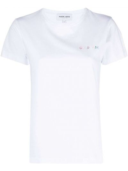 Хлопковая белая футболка с вышивкой Maison Labiche