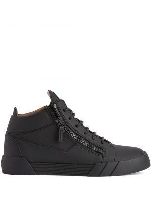 Czarne sneakersy skorzane koronkowe Giuseppe Zanotti