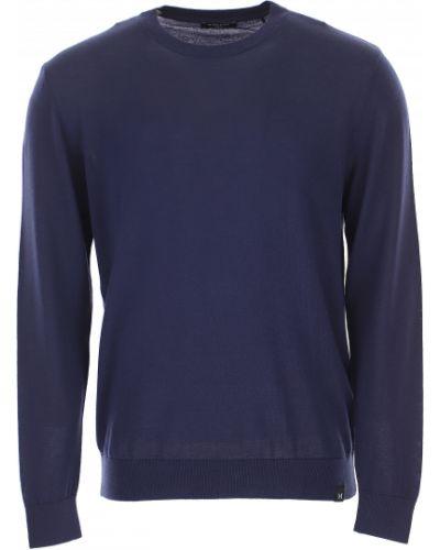 Niebieski sweter bawełniany z długimi rękawami Guess