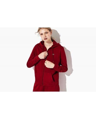 Bluza bawełniana bordowa Lacoste