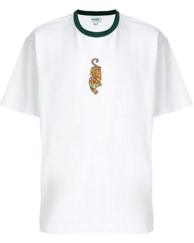 Белая футболка с вышивкой Kenzo