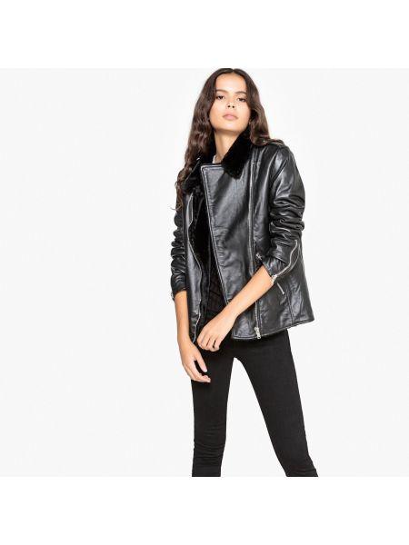 Кожаная куртка укороченная с подкладкой La Redoute Collections