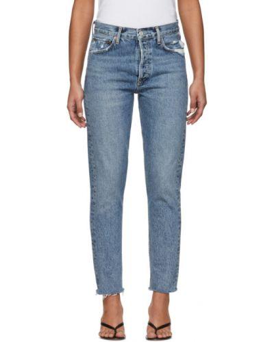 Niebieski klasyczny jeansy z mankietami z kieszeniami Agolde