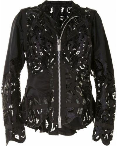 Кружевной черный удлиненный пиджак с воротником Sacai
