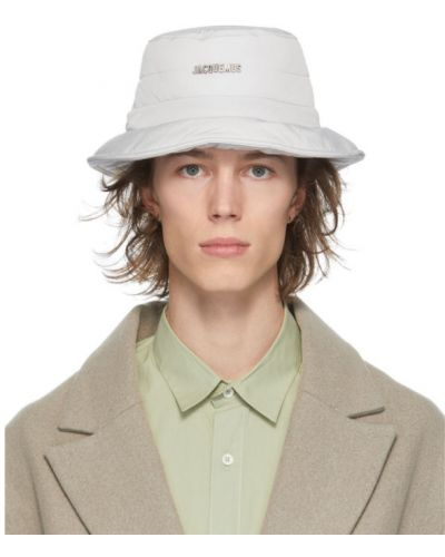 Nylon biały kapelusz prążkowany Jacquemus
