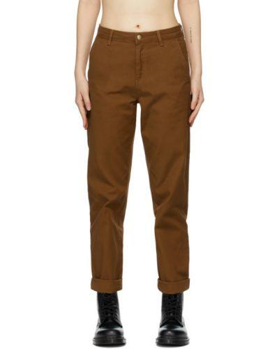 Brązowy włókienniczy jeansy z łatami z kieszeniami Carhartt Work In Progress