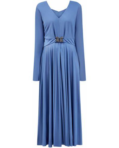 Синее мягкое вечернее платье с сеткой из вискозы Valentino